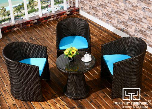 BÀN GHẾ CAFE NHỰA GIẢ MÂY MT2A115