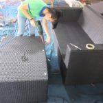 Hướng dẫn đan bàn ghế sofa nhựa giả mây | Bàn ghế sofa mây nhựa tại xưởng Minh Thy Furniture