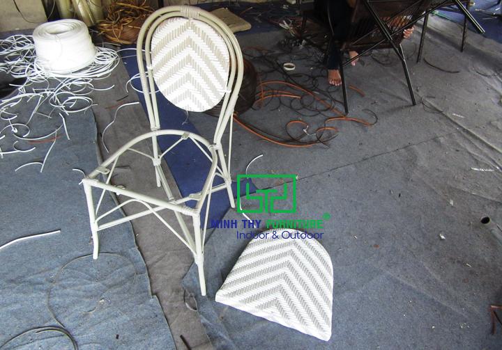 Ghế cafe giả mây mẫu sản xuất theo thiết kế của khách hàng